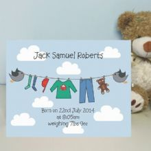 Personalised Washing Line Card - New Baby Keepsake Card